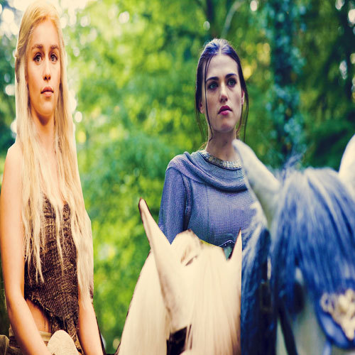 Morgana and Daenerys riding horses together.