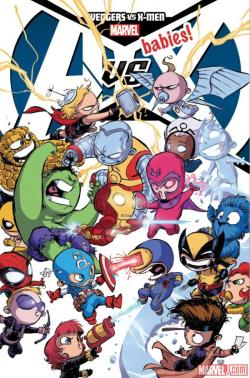 "albotas:  Avengers vs X-Men Gets Baby-fied This October Skottie Young and Gurihiru have teamed up for a one-shot entitled A-Babies vs X-babies which is set to drop this October and holy geeze the cover is awesome! Am I the only one in love with how baby Captain America has a lowercase ""a"" on his domepiece? (via Marvel)"