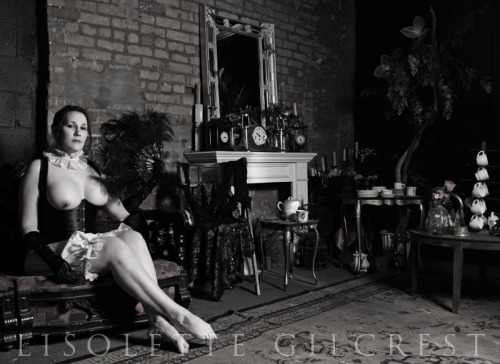 """Tea Time"" © 2012 Lisolette Gilcrest Model:  -Jen-Wardrobe Styling and Hairstylist:  Lisolette Gilcrest Bloomers:  Campbell & Miley Location:  District VII (Detroit, Michigan)"
