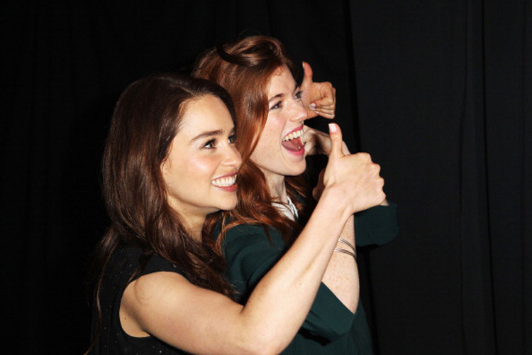 Emilia Clarke and Rose Leslie at the Game of Thrones panel at San Diego Comic-Con, July 13th