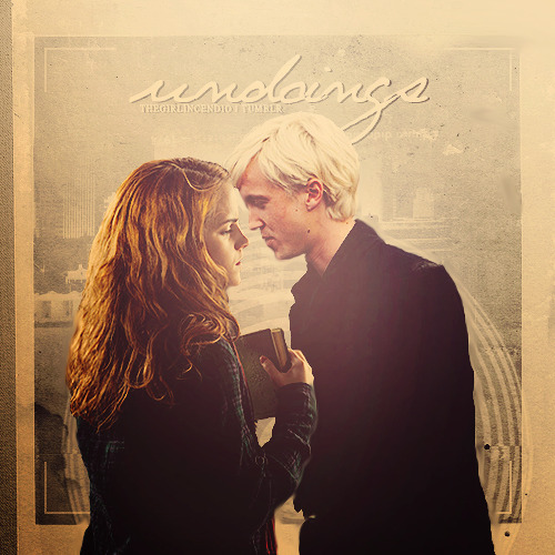 "Undoings, a Dramione fanmix  1. Meaning - Gavin DegrawRestless hearts, you take a punch2. Something Beautiful - NeedtobreatheI am down on my knees waiting for something beautiful3. Too Close - Alex ClareYou gave me more that I can return4. Ho Hey - The LumineersShow me family, all the blood that I would bleed5. Amazing, Because It Is - The AlmostI've been arching every part of me, just to see6. Kiss Me - Ed SheeranAnd I'll be your safety, you'll be my lady 7. I'm Not Who I Was - Brandon HeathWell the thing I find most amazing in amazing grace is the chance to give it out8. End of All Time - Stars of Track and FieldBuild up the speed to bring you home, turn off the lights and watch you glow9. No News is Bad News - Dashboard ConfessionalAll your looks give no betrayal to what you shield or hide10. Hold Us Together - Matt MaherIn the moment of truth when your heart hits the floor and you're on your knees11. By Your Side - Tenth Avenue NorthAnd please don't fight these hands that are holding you12. Wanted Man - NeedtobreatheYou know we are so alive, that even if they kill us we would never die13. Radiation - Gavin DeGrawYou're just as hot as radiation, but I""m in this situation14. What A Day - Greg LaswellWhat a day to be alive, what a day to realize I'm not dead15. Spectrum - Florence and the MachineWe are shining, and we'll never be afraid again Download: [x] (like/reblog if you do!)"