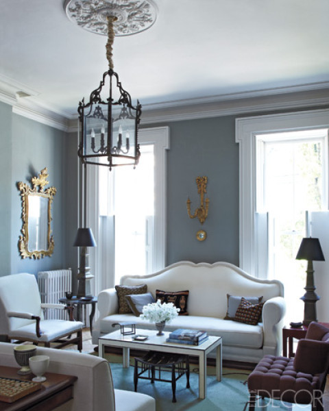 beautiful living room in chic powder blue