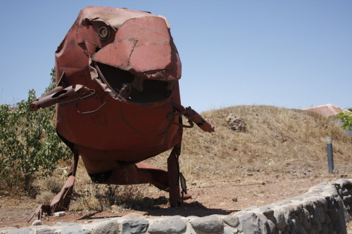 Art made of shrapnel and old military machines on the top of Mt. Bental