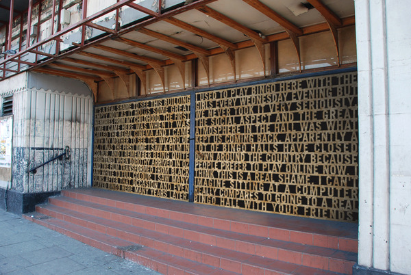 Submitted by: Leanne Bentley  A typographic hoarding device used to protect a closed down building. The hoarding acts as a forum for the local community to share their memories of the building at it's former glory.   Original Article