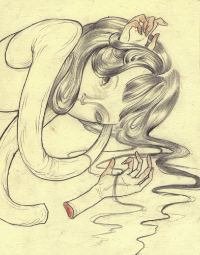 nomicheese:  Insomnia.Graphite, blood on moleskine paper. Nomi Chi.2012