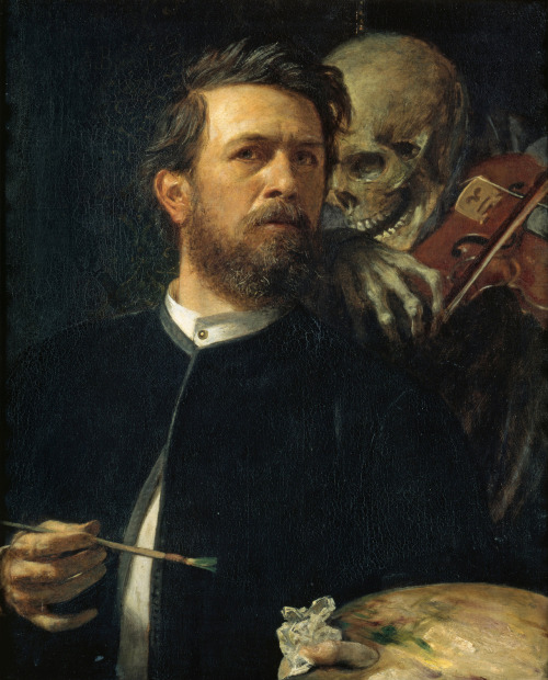 Arnold Böcklin- Self portrait with Death as a fiddler, 1872