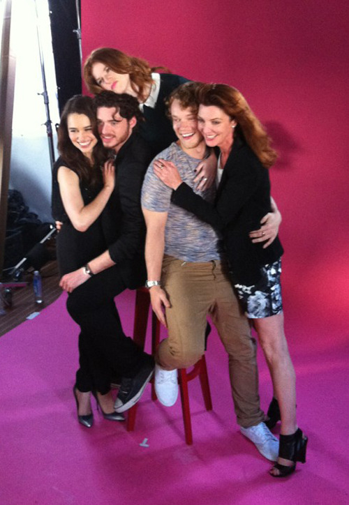 Emilia Clarke, Richard Madden, Rose Leslie, Alfie Allen and Michelle Fairley being photographed by TV Guide at San Diego Comic-Con, July 13th