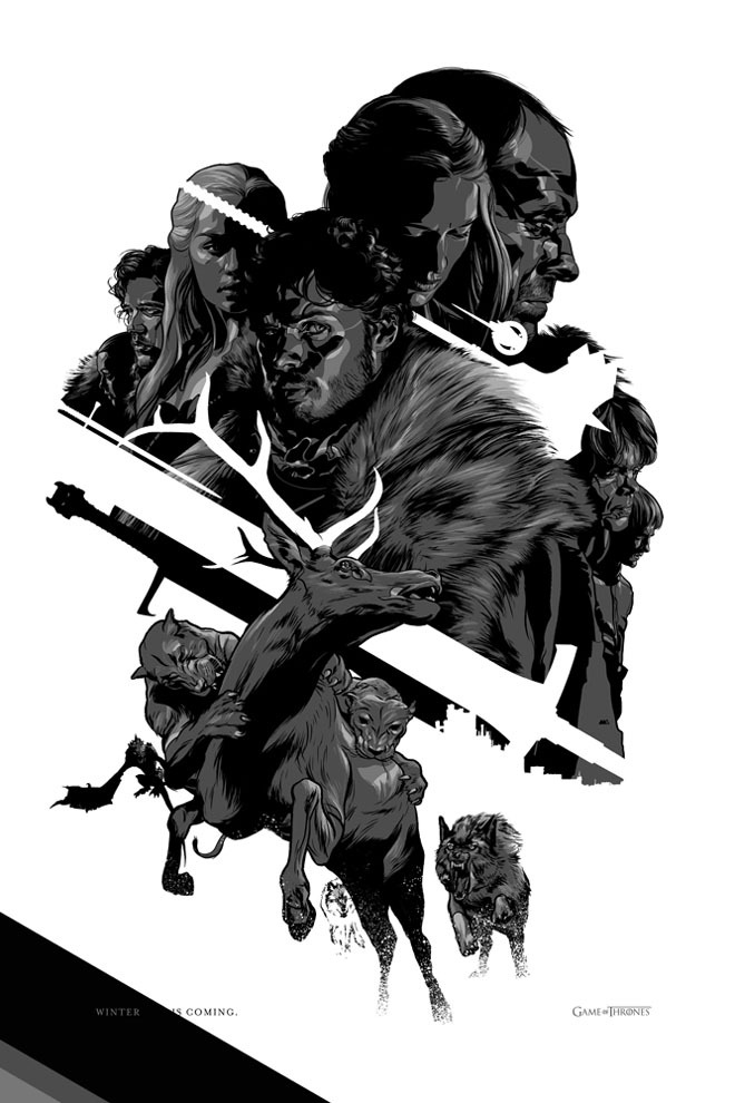 Martin Ansin's Game of Thrones poster, part of a new series of posters from Mondo released July 13th at San Diego Comic-Con