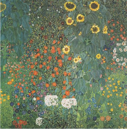 nothinghumanisalientome:  Gustav Klimt, Country Garden with Sunflowers, ca. 1907             Klimt was born today, July 14th 1862