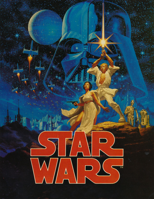One of the greatest movie posters of all time. Even if it wasn't Star Wars I'd still like it. Commissioned nine days before the film opened, artists the Brothers Hildebrandt had just 48 hours to complete it and were forced to work in shifts to get it done. All they were given was a bunch of black and white photos to work from. Painted on a piece of very un-futuristic masonite board! (Source: interview with Tim and Greg Hildebrandt in Future Life  Jan 1979)