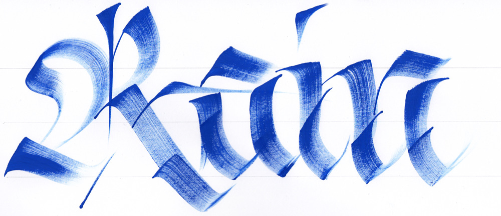 Calligraphi.ca Rain, brush and  Tempera on paper. Giuseppe Salerno
