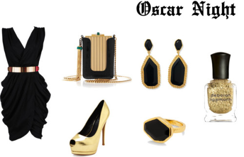 myownuniquefashion:  Oscar Night by melissa9m featuring black jewelry  Black dress / Charlotte Russe high heel shoes / Gucci  handbag / Gold jewelry / Black jewelry