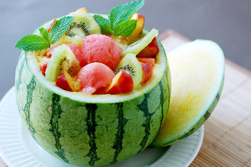 lightasadandelion:  Watermelon, Kiwi And Peach Inside A Watermelon