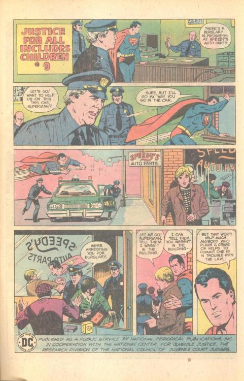 Curt Swan draws Superman telling a kid the bad news about being an accessory to a crime. I love the representationally-appealing cops in this PSA.