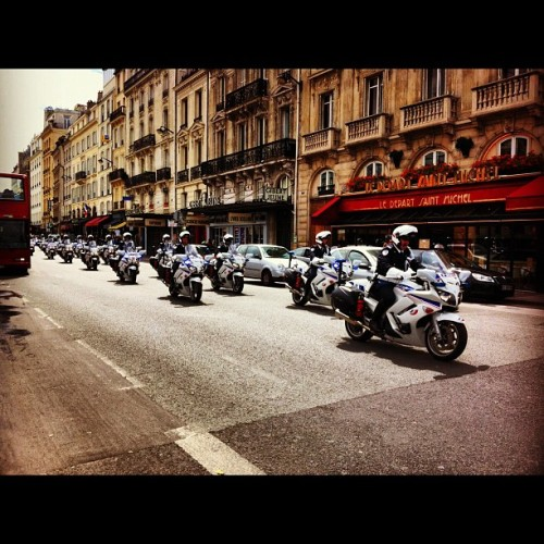 Police parade, every one with his siren on. #bastilleday  (Taken with Instagram)