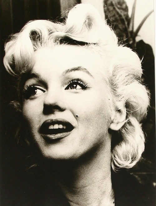 "#Marilynettes ~ A fabulous close up of Marilyn's eyelashes. [1956 during a press conference for ""Bus Stop"" at an airport in Los Angeles]"