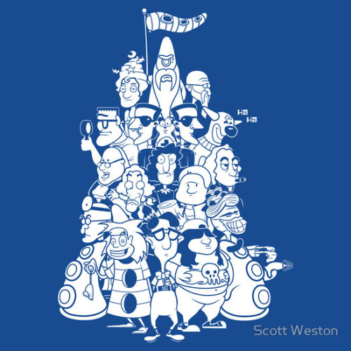 """Day at the Mansion"" by Scott Weston. Yes, thank you, naive human! Now I can finish taking over the world! Ha ha ha! — Purple Tentacle Inspired by the classic PC game, Day of the Tentacle. Available from RedBubble."