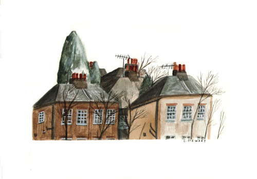 lizzystewartillustration: row of houses, July 2012