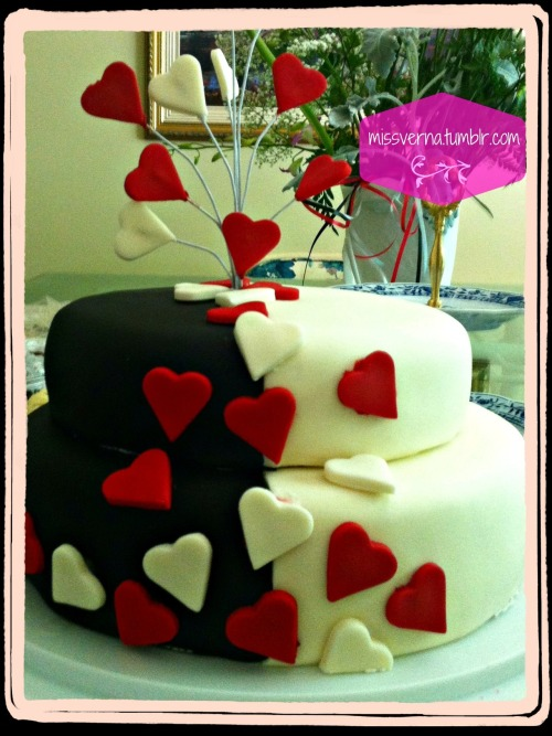 For a wedding shower, do you make the cake look like their wedding cake? These days it's so hard to say since cakes take on so many shapes and versions. So for my step-sister in-law-to-be (or whatever our family is now) I made a cake that used their wedding colours, but added a bit of whimsy with hearts all over it. Kinda looks like a poker table - but I'm happy. And so was the bride to be! That's all that really counts.