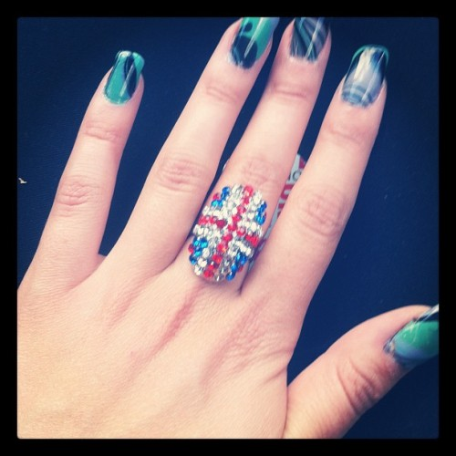 How awesome is my new ring?! Thanks mum! #unionjack #ring #hand #nails #awesome #addicted #cute #cool  (Taken with Instagram)