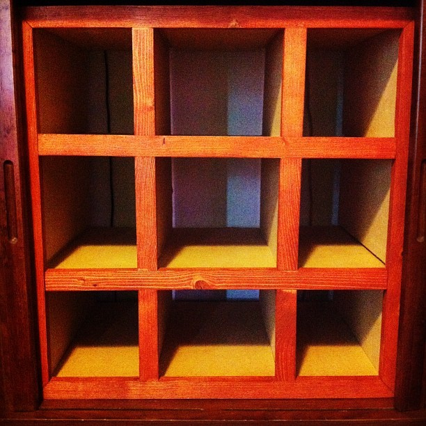 Yarn storage cubbies that Ryckie made for me! #yarn #knitting #crafts (Taken with Instagram)