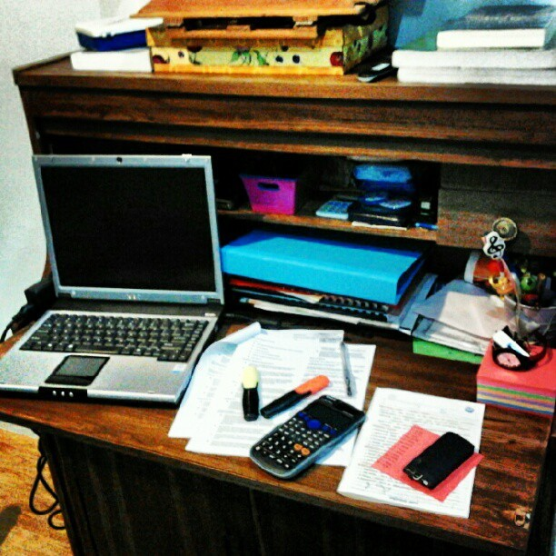 What my desk looks like when I'm studying.. (Taken with Instagram)