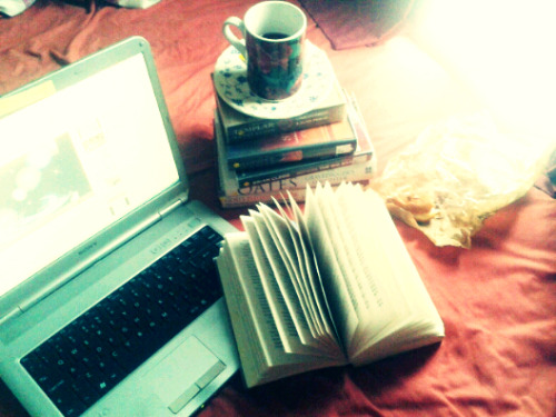 Tea, food, books, and music. Just perfect.
