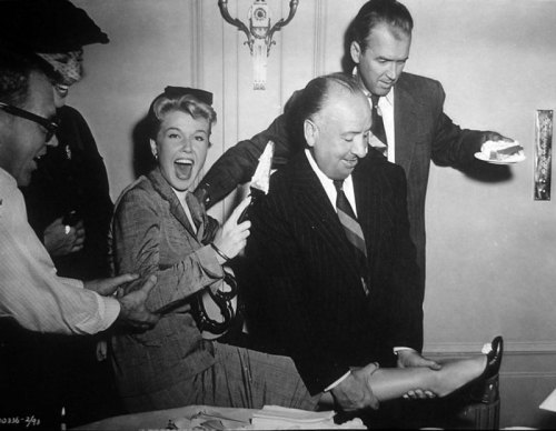 vintageho:  Doris Day on her birthday with Alfred Hitchcock, Jimmy Stewart on the set of The Man Who Knew Too Much (1956)