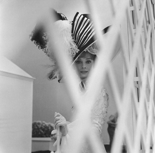Audrey Hepburn photographed by Cecil Beaton during the filming of My Fair Lady, 1964.