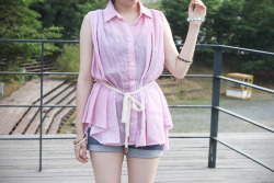 MARINE striped collar blouse , POLETTE high waisted denim shorts    www.artfitshop.com