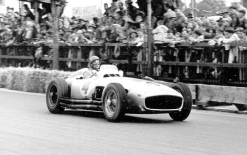 Juan Manuel Fangio 1954, Swiss Grand Prix. Fangio drives the Mercedes W196, which turns out to have been the first F1 car with direct injection.