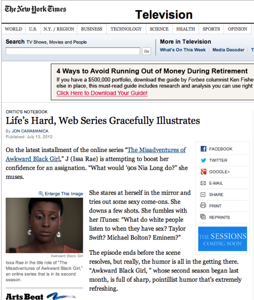 "A review of ""Awkward Black Girl"" in the New York Times!"