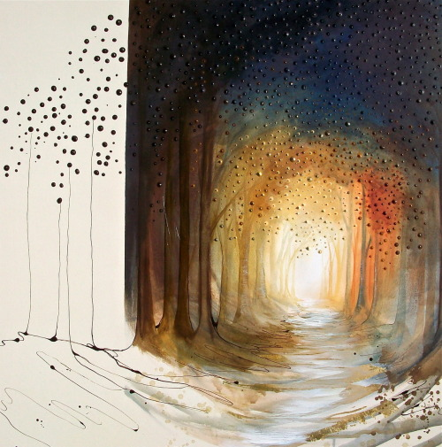 Twilight Roam - 2012 - acrylic and metal leaf on canvas Louisa Boyd http://www.facebook.com/louisaboydart