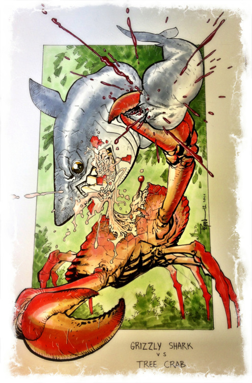 A commission I had WAY too much fun with. Grizzly Shark vs Tree Crab. #SDCC