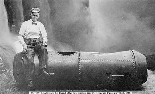 historical-nonfiction:  In 1911, Bobby Leach survived a plunge over Niagara Falls in a steel barrel. Fourteen years later, in New Zealand, he slipped on an orange peel and died.