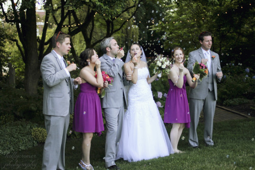 hollyannephoto:  Bubble wedding party photo! Hahn Horticulture Garden at Virginia Tech