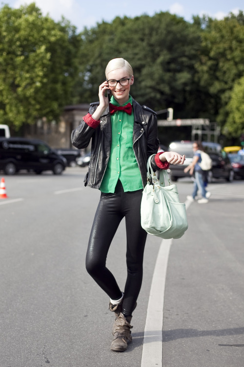 Anika Scheibe (PS Models, Munich) Bow Tie androgyny as seen in Tiergarten, Berlin.  Click HERE to see her official PS Models Portfolio
