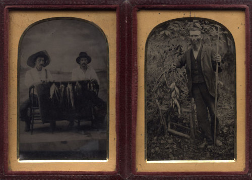 ca. 1875, [two tintype portraits, housed together, of fisherman with their catch] via Charles Schwartz Photography