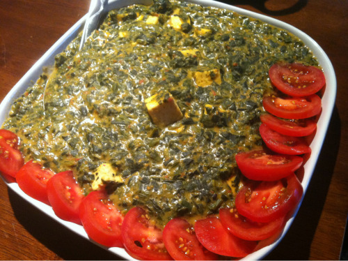 First attempt at vegan palak paneer, which I guess makes this palak tofu. Not bad, but not good enough to post the recipe yet!