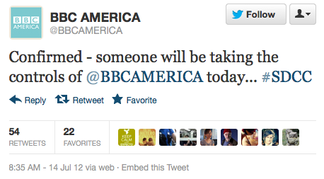 @BBCAMERICA: Confirmed - someone will be taking the controls of @BBCAMERICA today… ‪#SDCC
