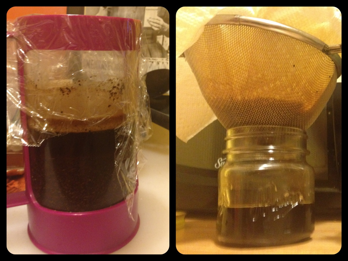 My 24-hour cold brewed iced coffee experiment was a success!  I've been spending so much money on iced coffee this summer (even at $0.99, they add up), so when I was more or less stuck inside my apartment due to extreme heat last weekend, I decided to take the opportunity to brew some of my own. I'd had some ground coffee in the house that I wasn't crazy about, so I figured it would be fine if the resulting cold coffee 'extract' wasn't amazing, since the coffee I would otherwise make from it wouldn't be either. I followed these instructions to a t, starting of course with step 3 since my coffee was already roasted and ground. It was fun to sort of play scientist in the kitchen. The worst part of the whole experience was that the by the time the brew was done, it was late on a Sunday, and I would have to wait for a more caffeine-appropriate time to taste the results. Well today was the day. I didn't bother to dilute the elixir with cold water, just some milk and ice. Yes, I tried the tiniest pinch of salt and a bit of sugar too.  The results: definitely the best iced coffee I've had at home. Hoorah.