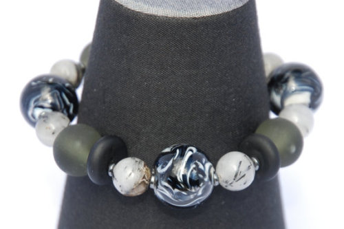 Pretty! Black and White Lampwork Bracelet with Rutilated Quartz
