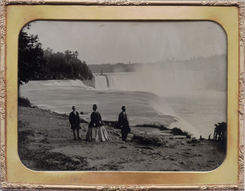ca. 1855, [ambrotype portrait of three tourists at Niagara Falls], Platt Babbitt via Charles Schwartz Photography
