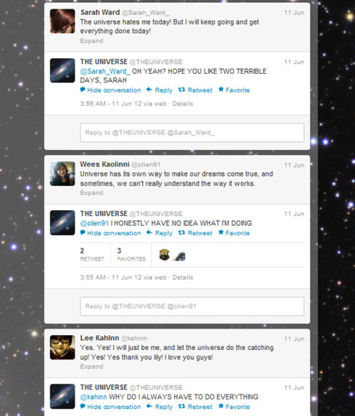 laughingsquid:  The Universe Gets Its Own Twitter Account & Humorously Responds When Mentioned