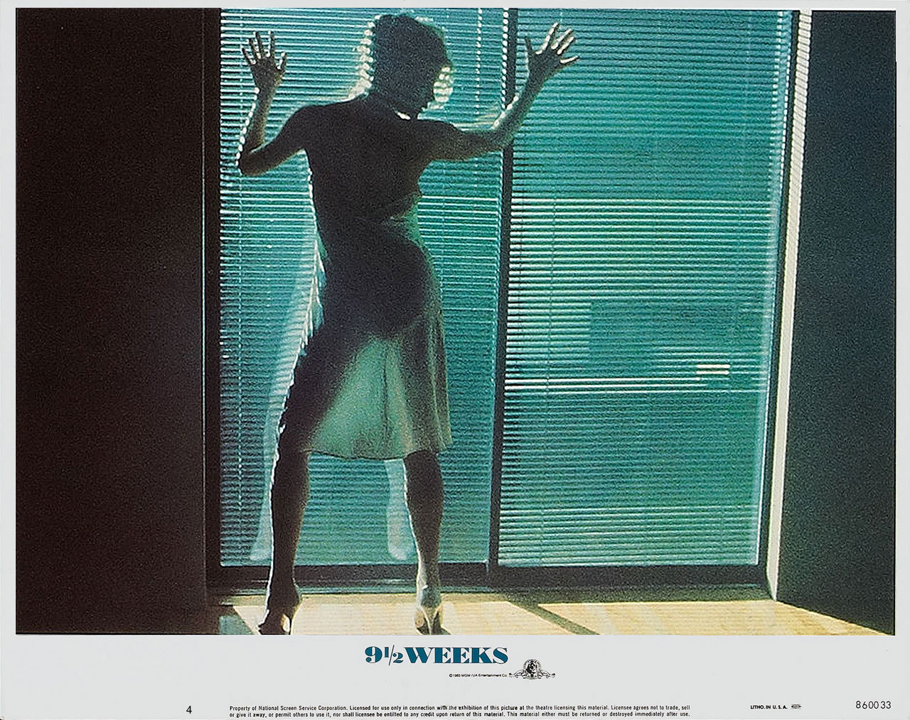 9 1/2 Weeks, US lobby card. 1986