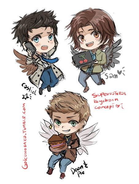 gokunobaka:  Supernatural Keychains concepts~ God drawing Real life actors in CHIBIFIED manga style is just pain XDI still am not sure about wings but my inner fangirl weebo really wants them with wings lol :c Anyway I hope You will like it ~ They will also be a part of giveaway, as well as sold in online shop which will launch tonight~! (But first i must finish website color 5 chibis and bleed my eyes out Q_Q Fun fun~)