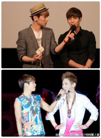 좋은 형제-The first picture shows how the key held the mic to Jonghyun in the showcase event at the I AM and the second image shows the opposite Jonghyun held the mic for the key at the Expo 2012 Yeosu event ♥.