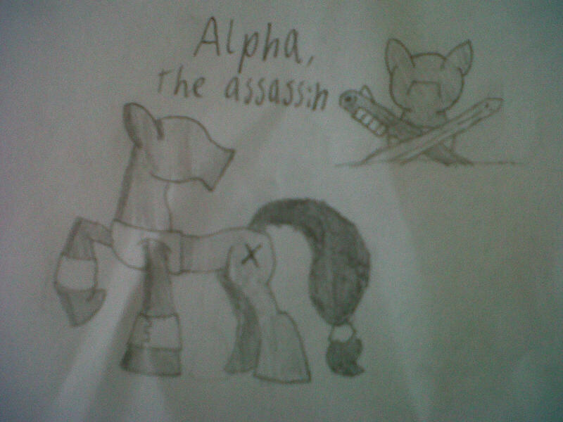 ask-alpha-assassin:  Alpha (X), one of Equestria's only assassins for hire. A new interactive ask blog, coming soon… (OOC, so after weeks of thought, i have discovered a blog i want to create. There is one massive issue though: artwork.) (At the moment, i only have two choices of art-style: pencil/paper, or MS paint. each side has a massive pro and con) (pencil/paper pro: i am a fairly decent artist when it comes to IRL sketching. Con: i have no form of scanner, so i'll have to photograph all my work) (MS paint pro: it's already on my computer, so there's no need to photograph. Con: i suck at computer-made artwork) (please tell me what i should do)  Well, I would say, pick what you are comfortable with! Perhaps it is not that you suck at Computer Artwork, but that MS Paint is just awful for anything serious.