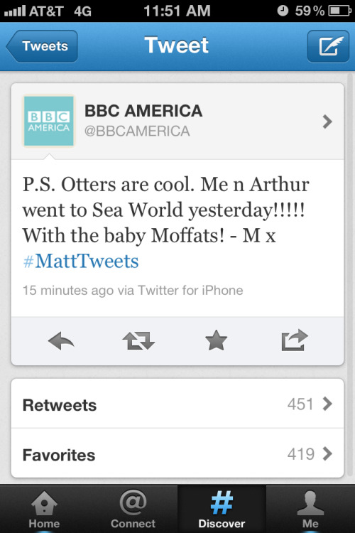 Otters. Matt Smith took over the Twitter account of BBC America all day Saturday at San Diego Comic-Con.