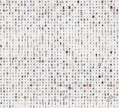 Tauba Auerbach, Frequency, 10,000 pieces cut letters on paper, 2005